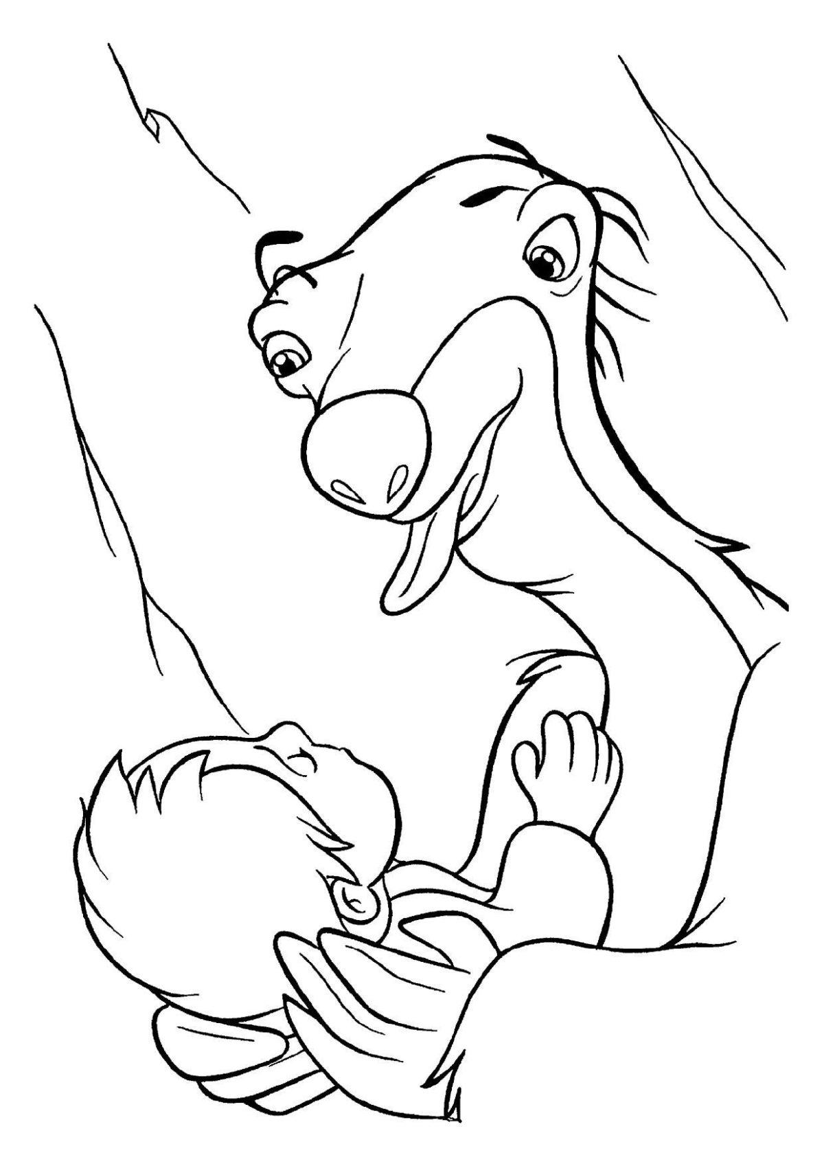 Ленивец Сид укачивает ребёнка - Картинка для раскрашивания красками-гуашью
