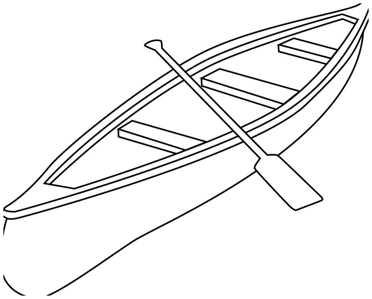 Лодка - Картинка для раскрашивания красками-гуашью