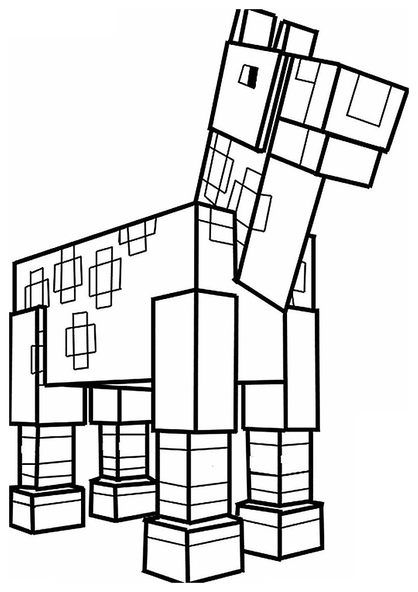 Лошадь из Майнкрафт - Minecraft - Картинка для раскрашивания красками-гуашью