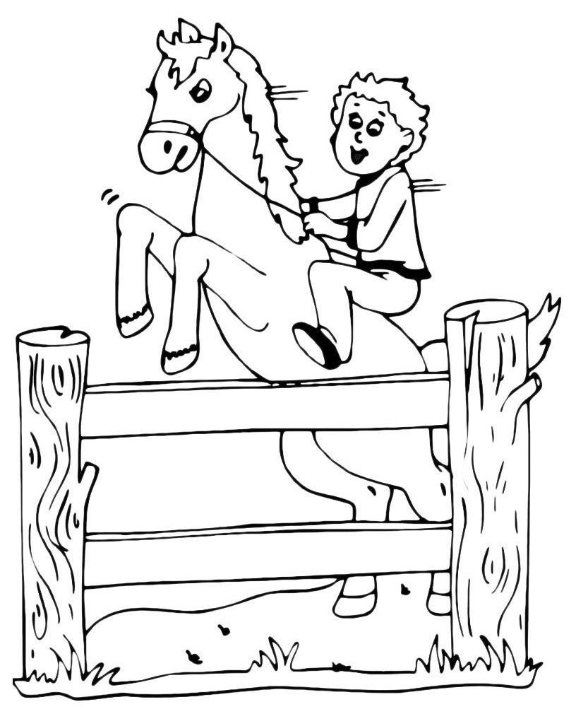 Лошадь прыгает через заборчик - Картинка для раскрашивания красками-гуашью