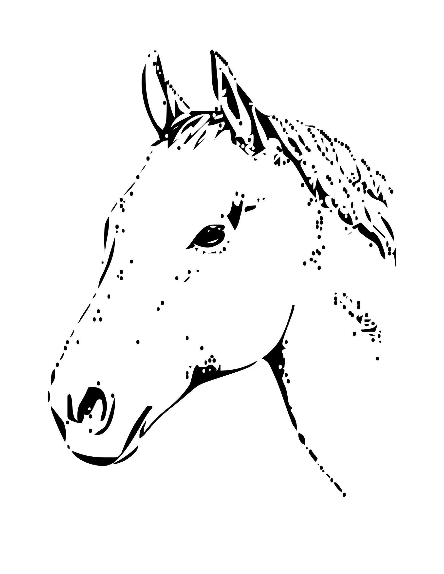 Лошадь - символ Нового года 2014 - Картинка для раскрашивания красками-гуашью