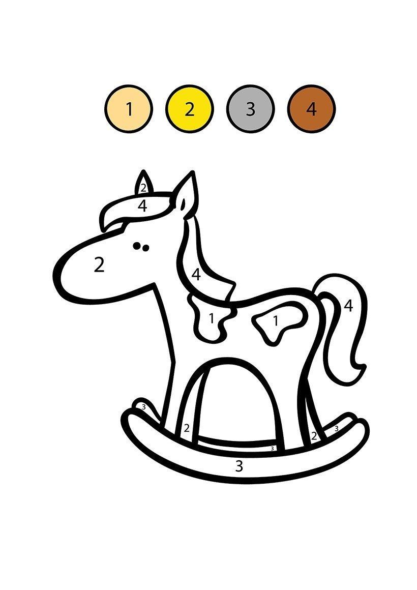 Картинка для раскраски «Лошадка по цифрам»