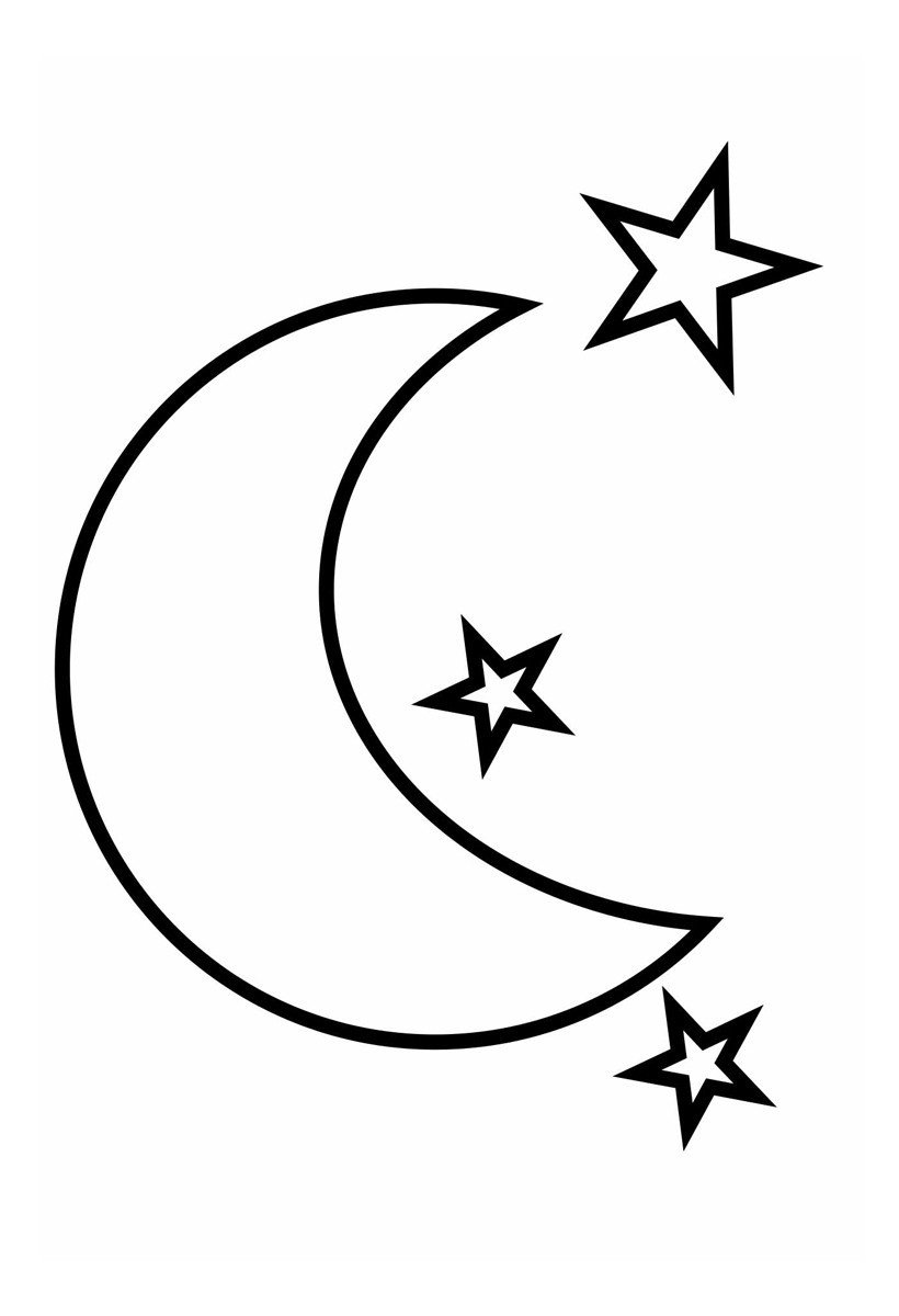 Луна и звезды - Картинка для раскрашивания красками-гуашью