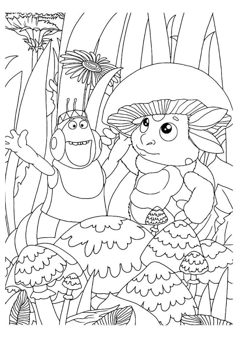 Лунтик и Вупсень - Картинка для раскрашивания красками-гуашью