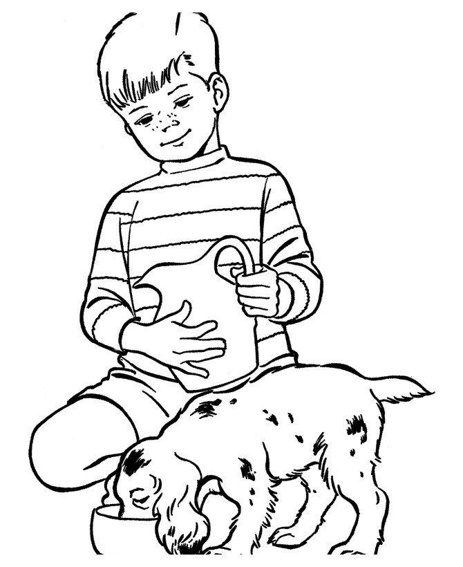 Мальчик кормит свою собаку - Картинка для раскрашивания красками-гуашью