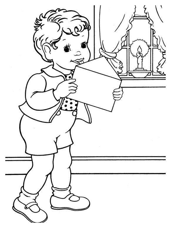 Картинка для раскраски «Мальчик написал письмо Деду Морозу»
