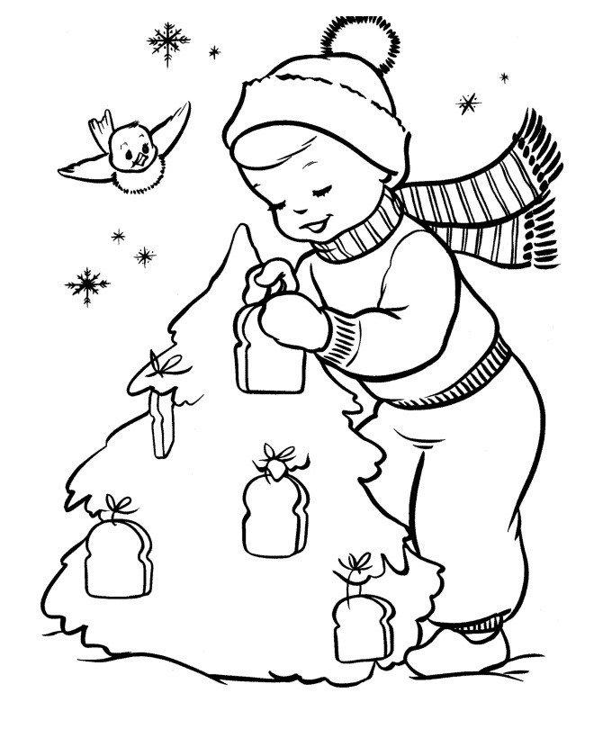 Мальчик с птичкой украшают елку - Картинка для раскрашивания красками-гуашью