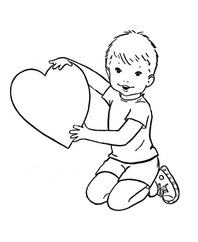 Мальчик с сердечком - Картинка для раскрашивания красками-гуашью