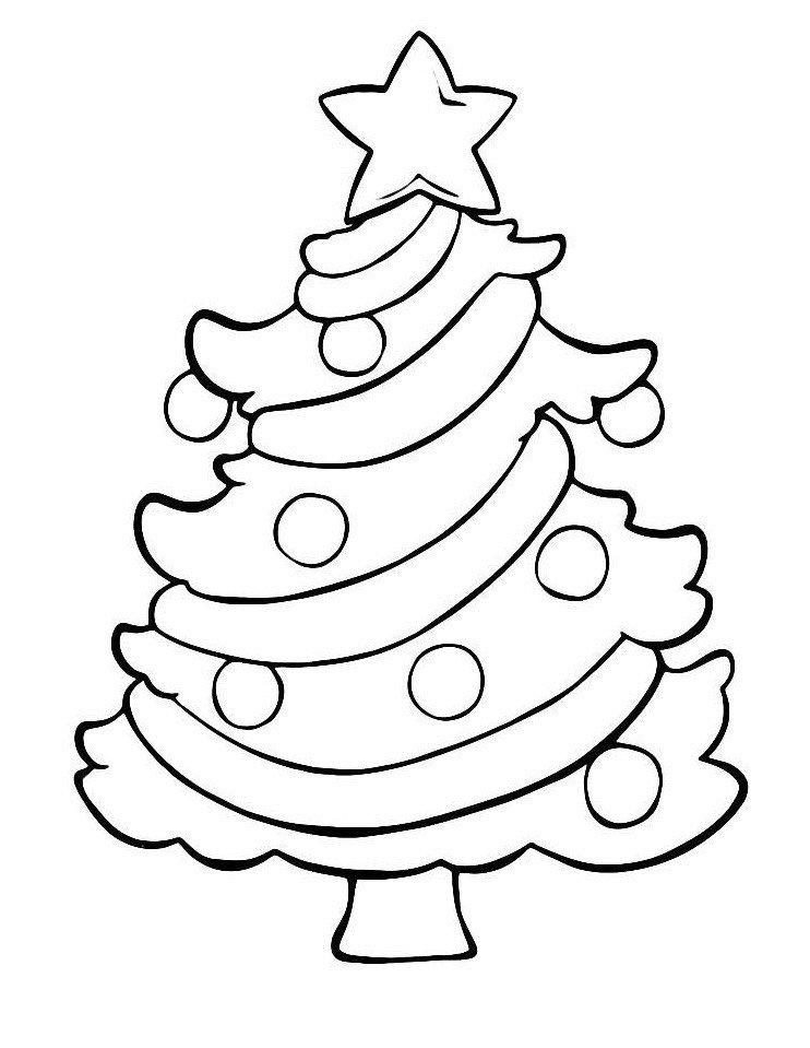 Маленькая новогодняя елочка в шарах - Картинка для раскрашивания красками-гуашью