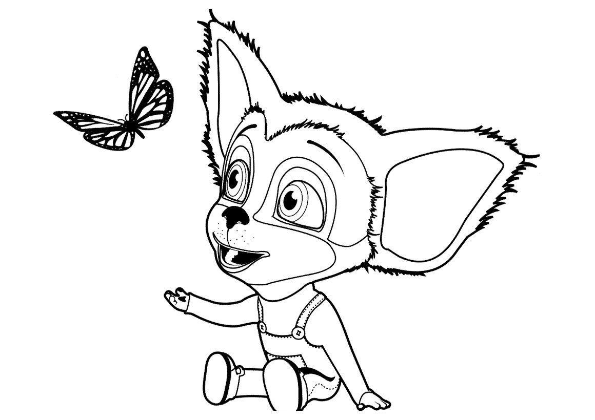 Малыш Барбоскин и бабочка - Картинка для раскрашивания красками-гуашью