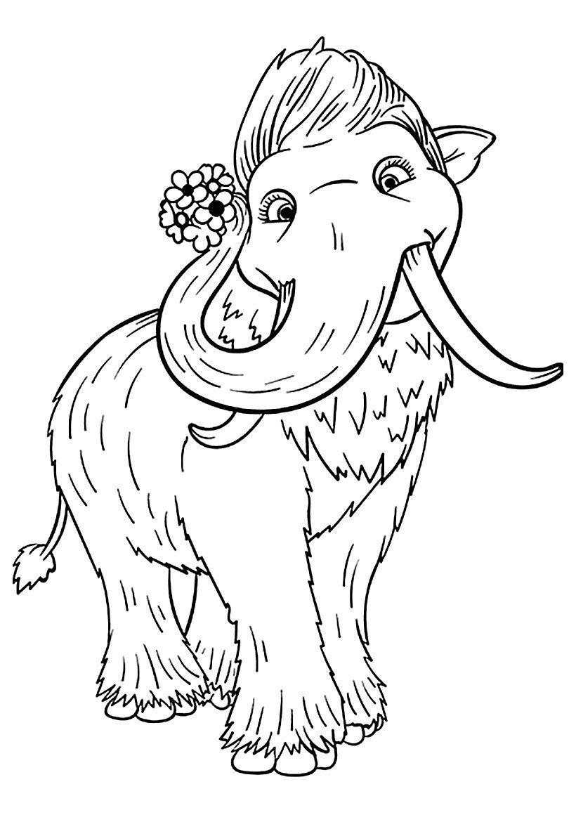 Мамонтёнок Персик - Картинка для раскрашивания красками-гуашью