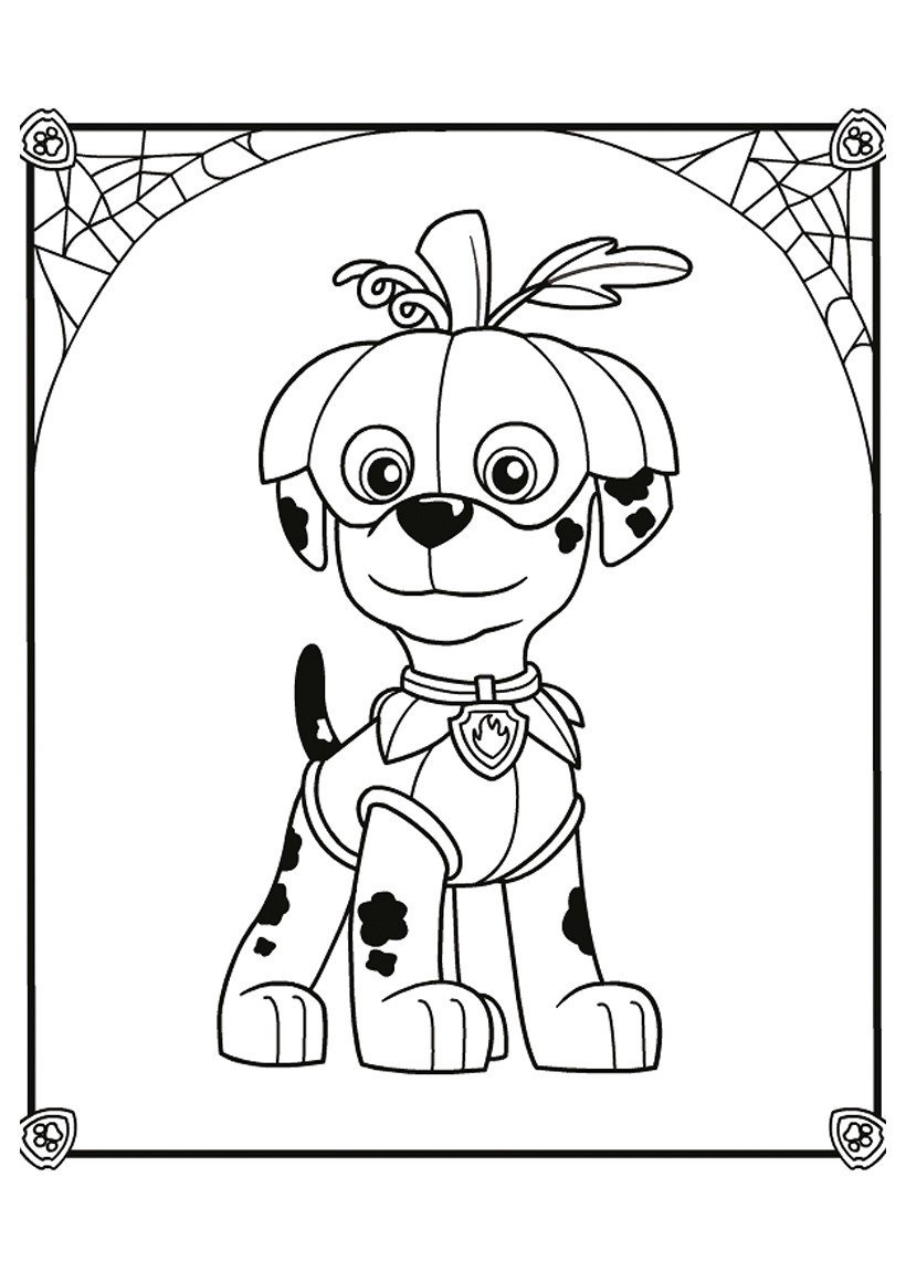Картинка для раскраски «Маршал на Хэллоуин»