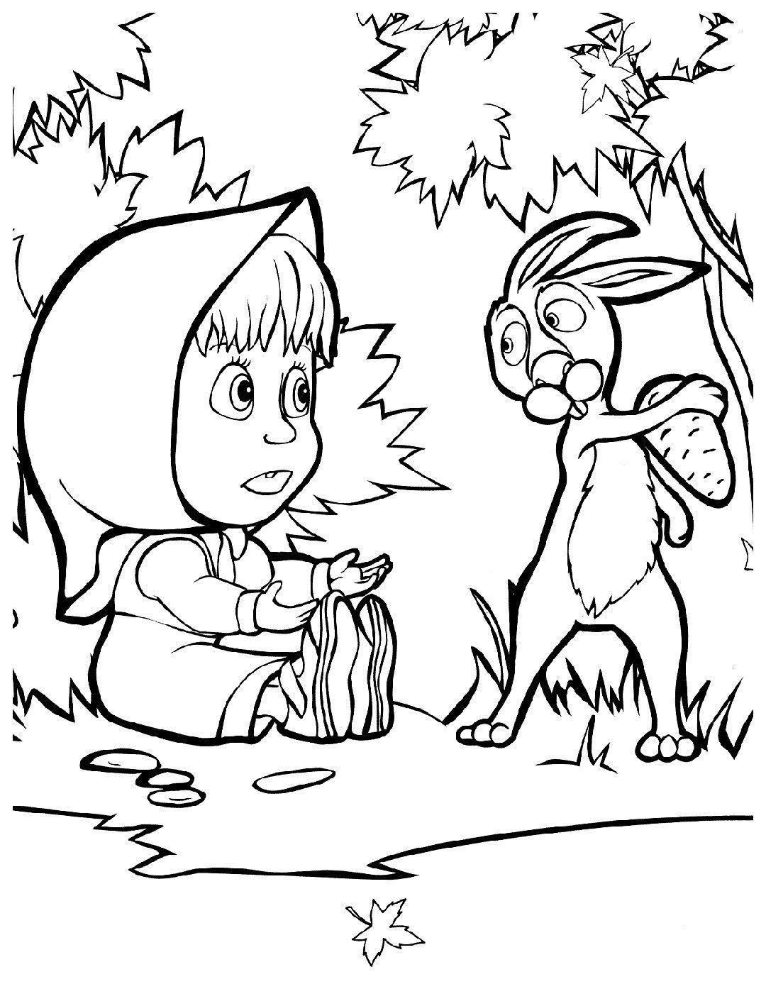 Маша и заяц - Картинка для раскрашивания красками-гуашью