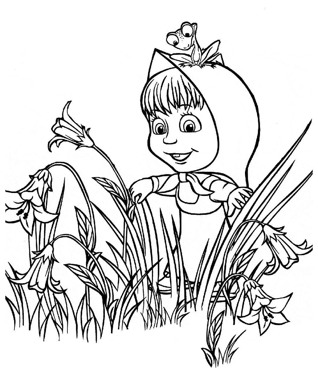 Маша выглядывает из цветочных зарослей - Картинка для раскрашивания красками-гуашью