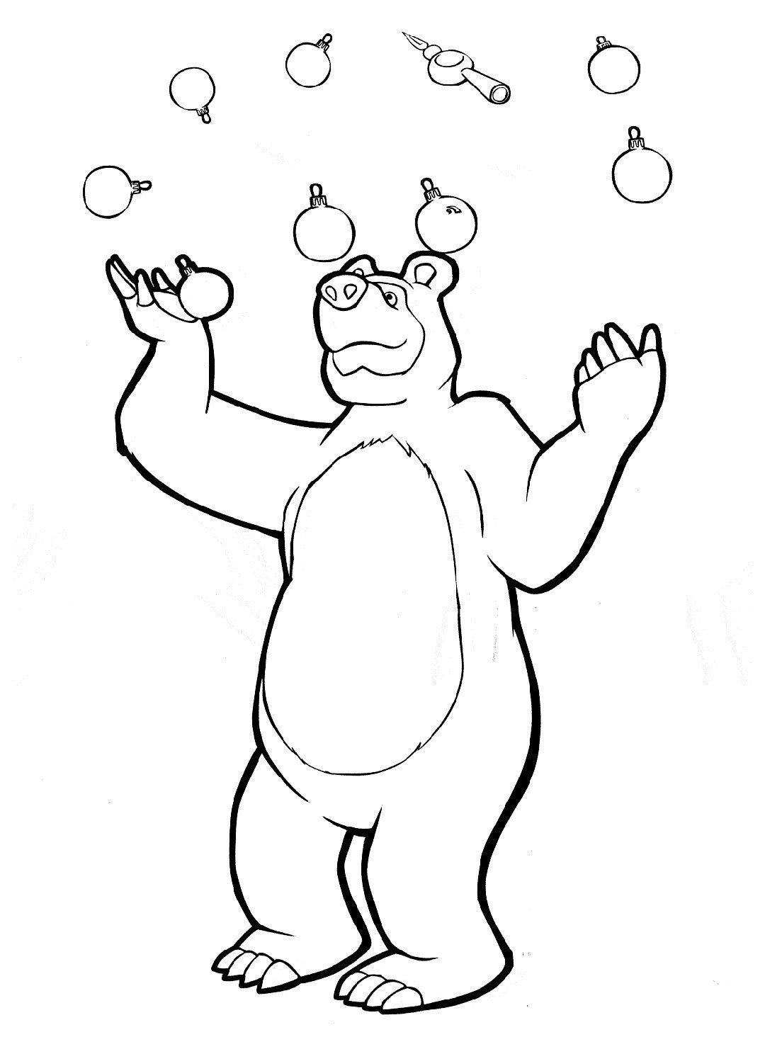 Медведь жонглирует - Картинка для раскрашивания красками-гуашью