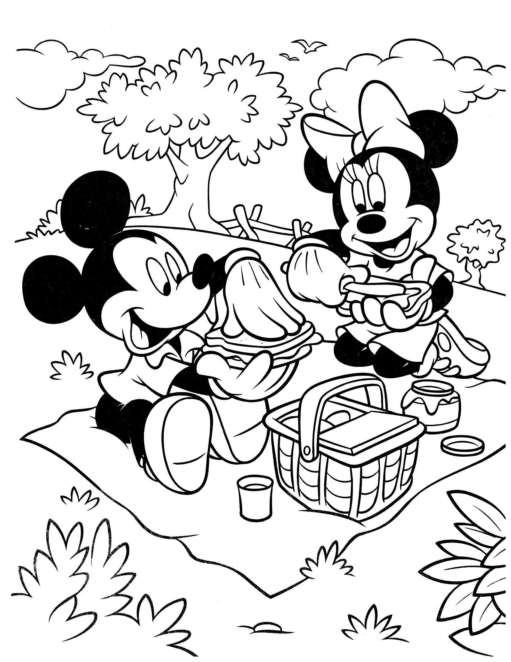 Микки и Минни на пикнике - Картинка для раскрашивания красками-гуашью