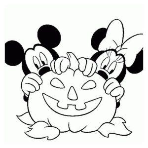 Микки Маус и Минни с тыквой - Картинка для раскрашивания красками-гуашью