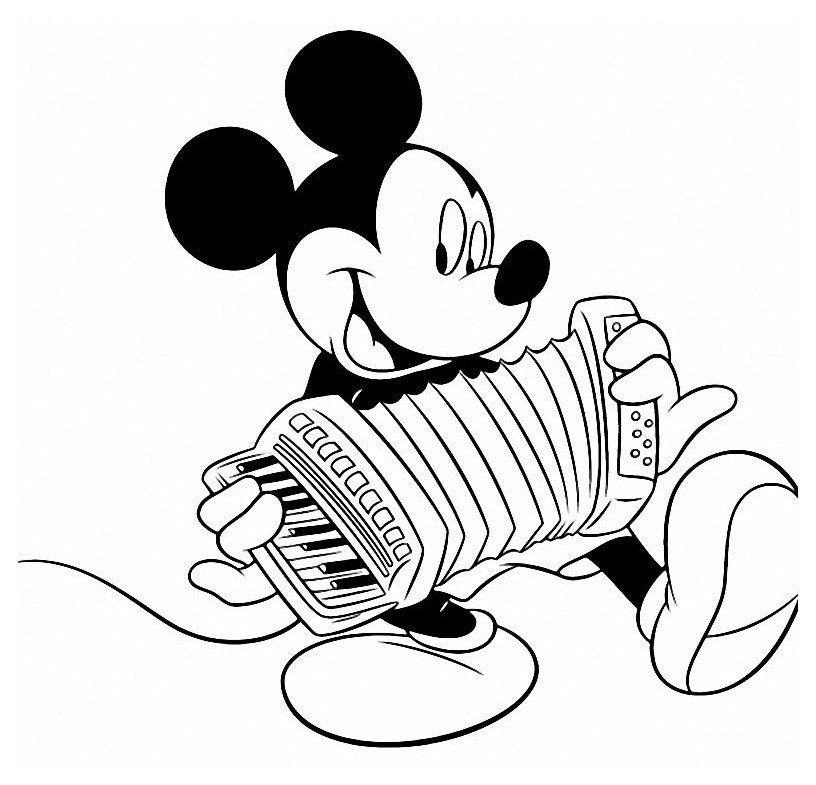 Микки Маус играет на аккордионе - Картинка для раскрашивания красками-гуашью