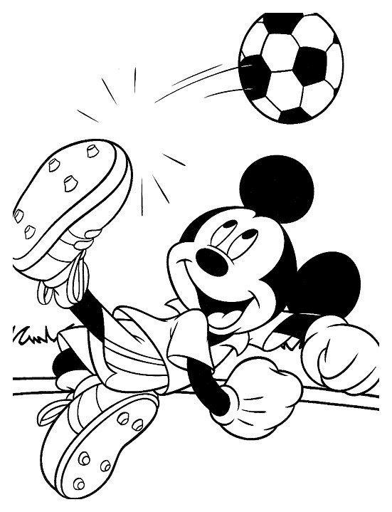Картинка для раскраски «Микки Маус играет в футбол»