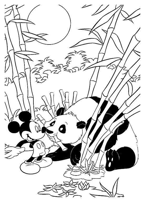 Микки Маус встретил панду - Картинка для раскрашивания красками-гуашью