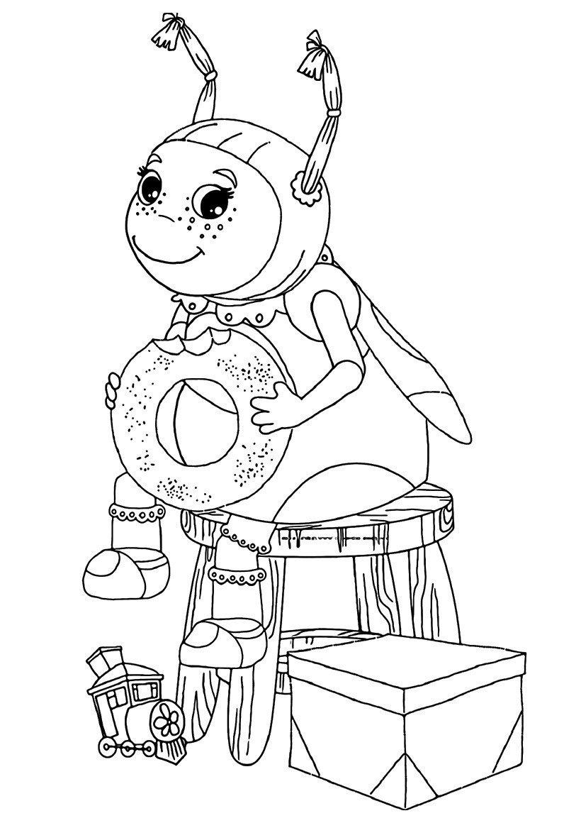 Картинка для раскраски «Мила кушает бублик»