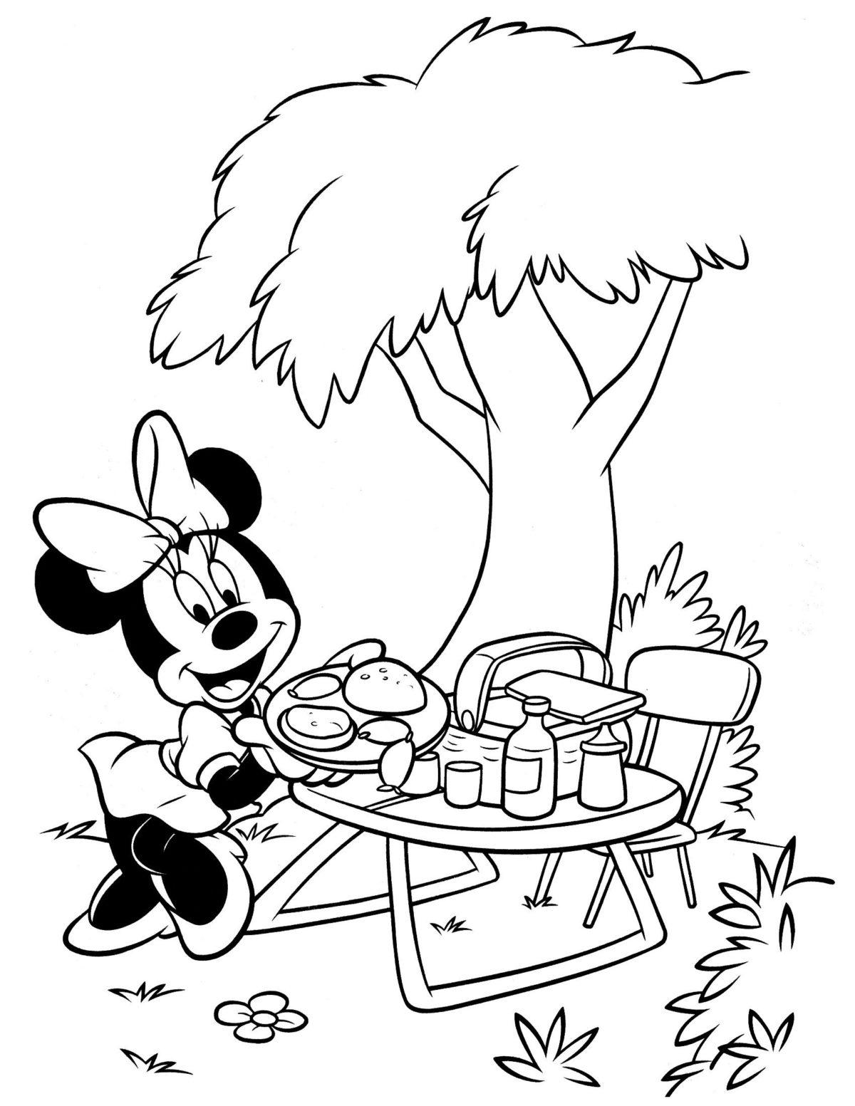 Минни на пикнике - Картинка для раскрашивания красками-гуашью