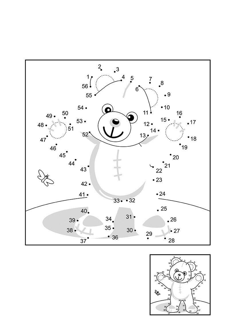 Мишка по точкам - Картинка для раскрашивания красками-гуашью