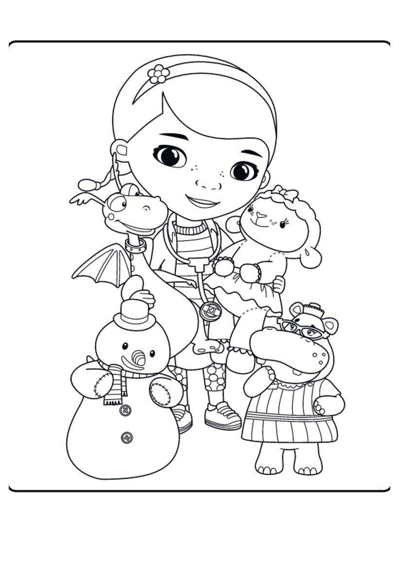 Картинка для раскраски «Мультфильм доктор Плюшева»