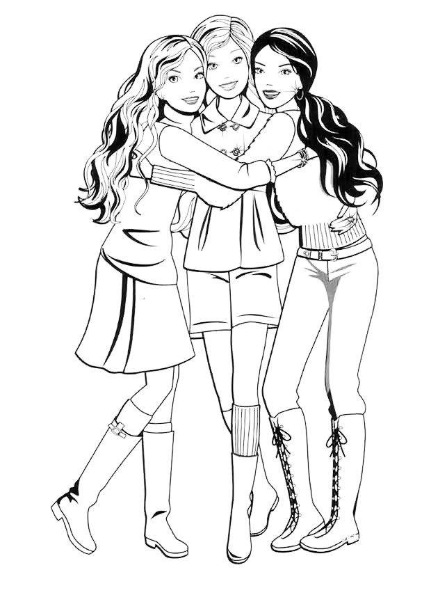 Неразлучные друзья Барби - Картинка для раскрашивания красками-гуашью