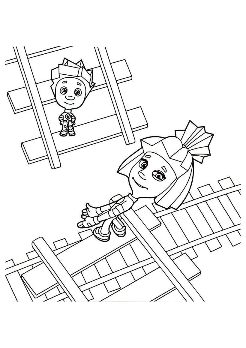 Картинка для раскраски «Нолик и Симка на рельсах»