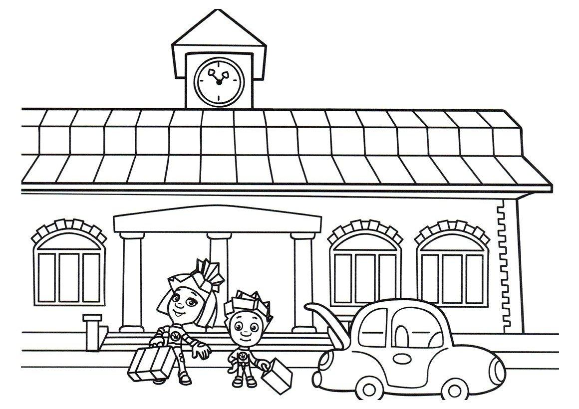 Нолик и Симка на вокзале - Картинка для раскрашивания красками-гуашью