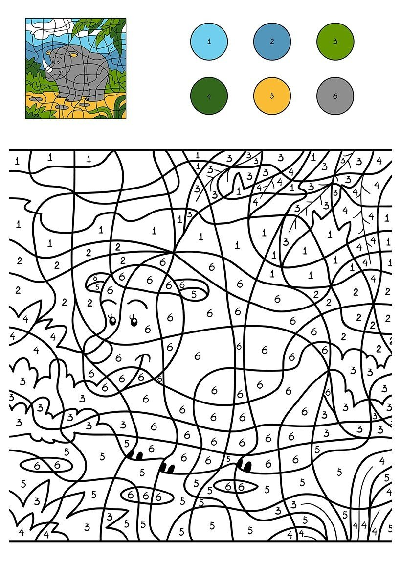 Носорог на полянке по цифрам - Картинка для раскрашивания красками-гуашью