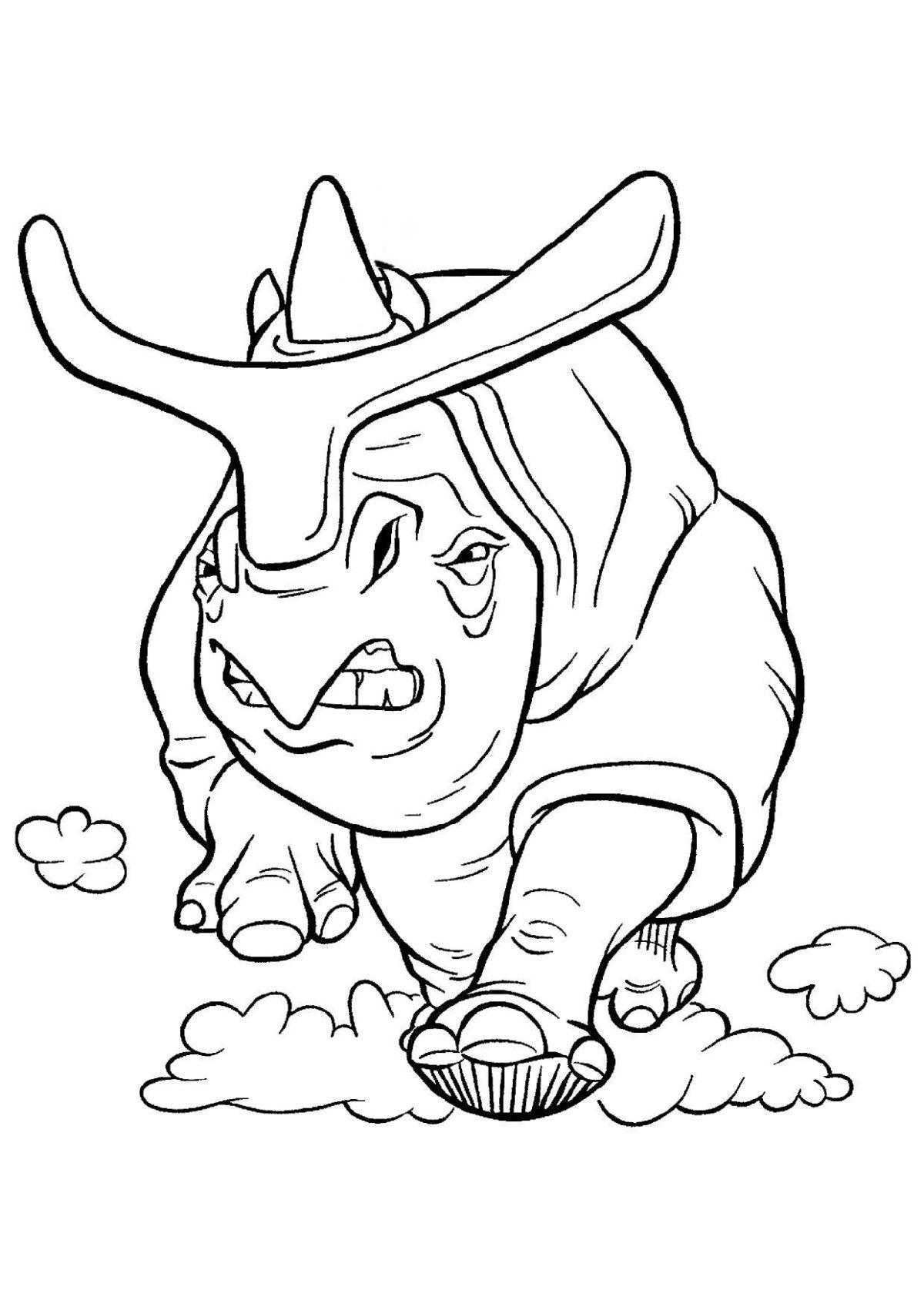 Носорог в погоне - Картинка для раскрашивания красками-гуашью