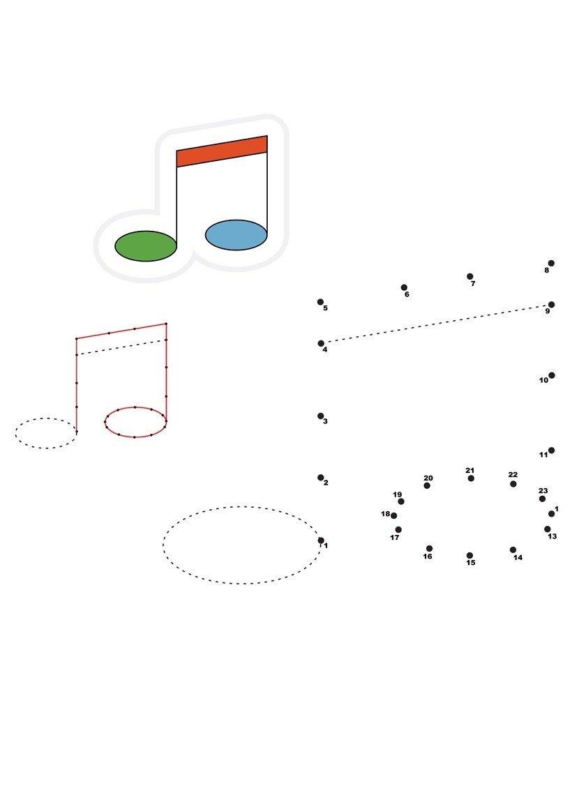 Ноты по точкам - Картинка для раскрашивания красками-гуашью