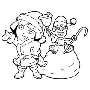Новый год с забавной обезьянкой - Картинка для раскрашивания красками-гуашью