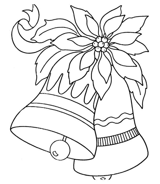 Новогодние колокольчики - Картинка для раскрашивания красками-гуашью