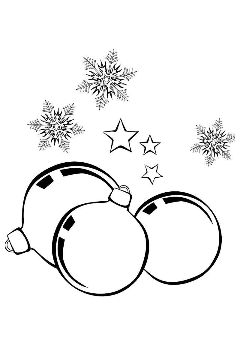 Новогодние шары и снежинки - Картинка для раскрашивания красками-гуашью