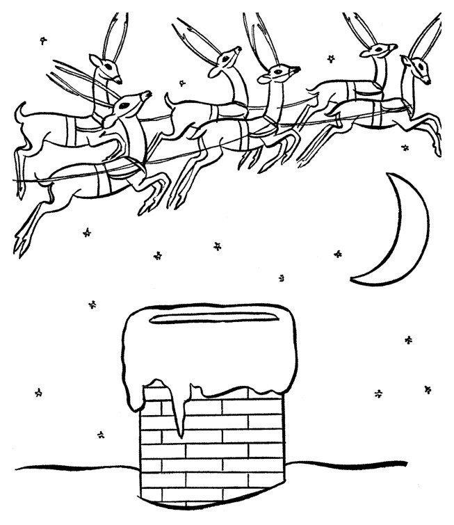 Олени в упряжке и дымоход - Картинка для раскрашивания красками-гуашью