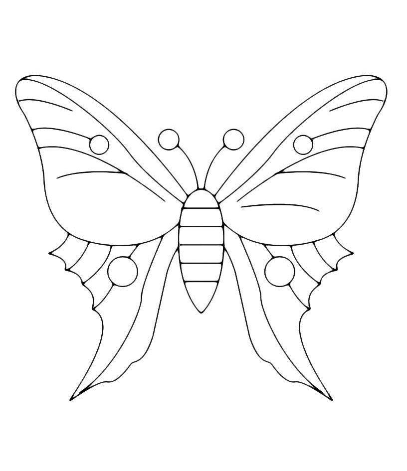 Оригинальная бабочка - Картинка для раскрашивания красками-гуашью