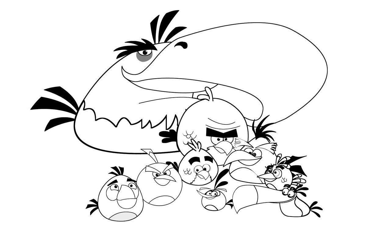 Орёл и Энгри Бёрдс - Картинка для раскрашивания красками-гуашью