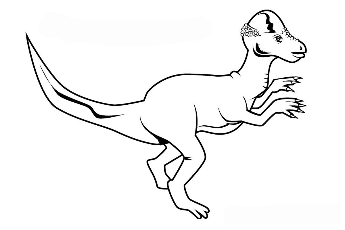Пахицефалозавр - Картинка для раскрашивания красками-гуашью