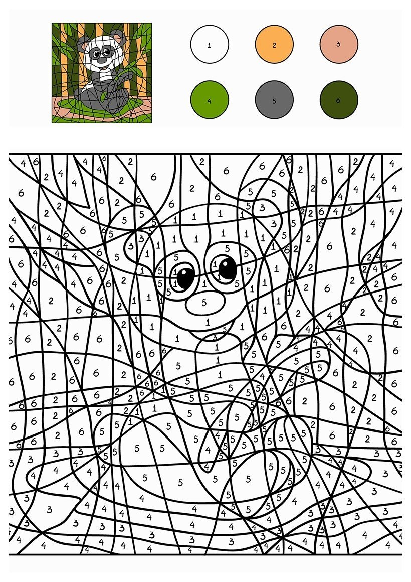 Панда по цифрам - Картинка для раскрашивания красками-гуашью