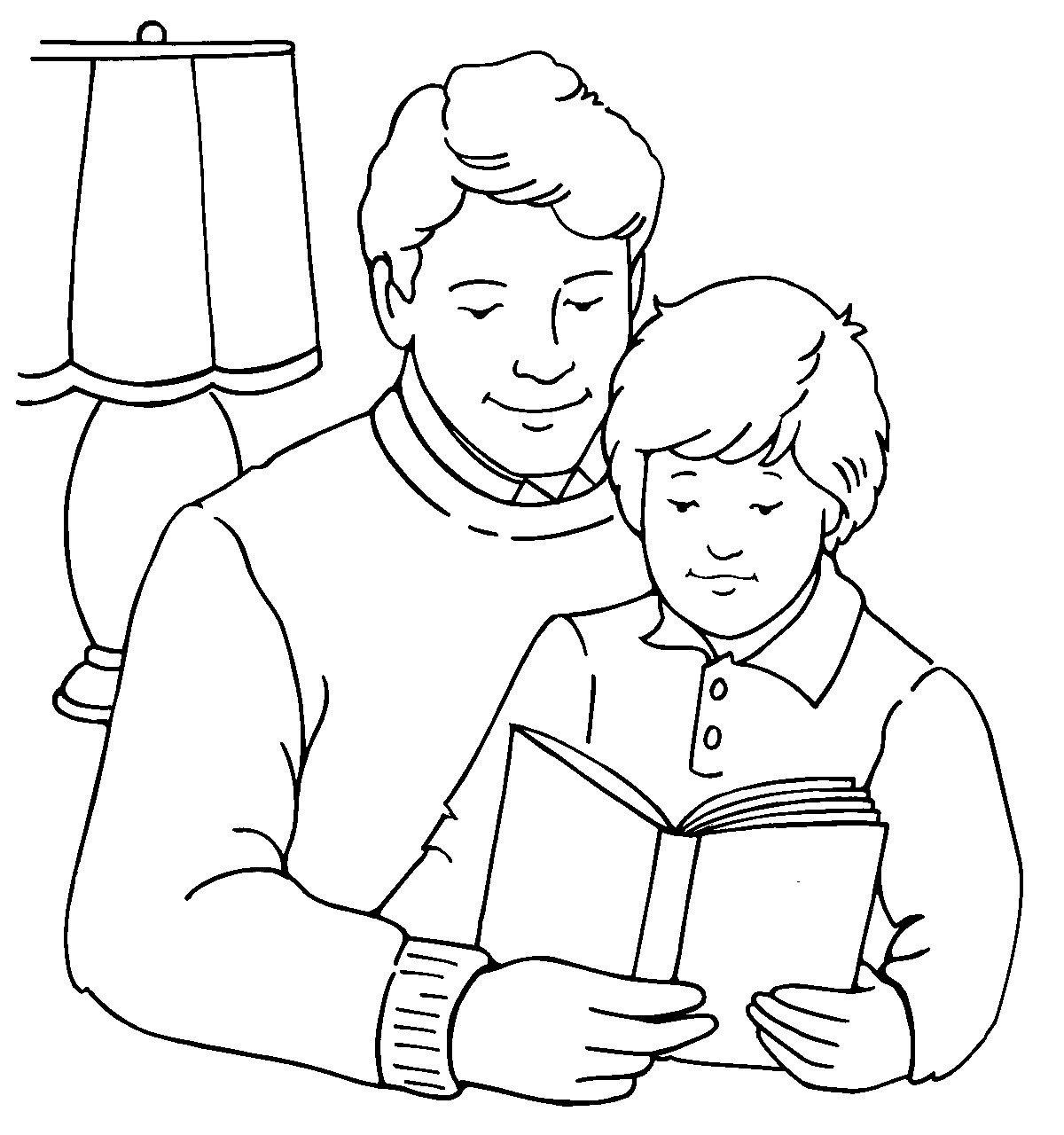 Картинка для раскраски «Папа и сын на День Защитника Отечества»