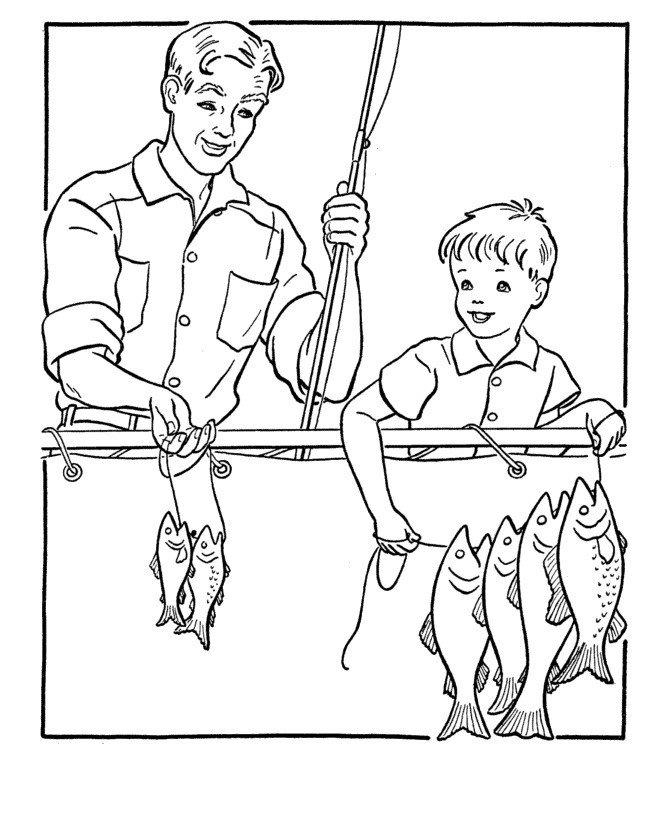 Картинка для раскраски «Папа и сын на рыбалке 23 февраля»