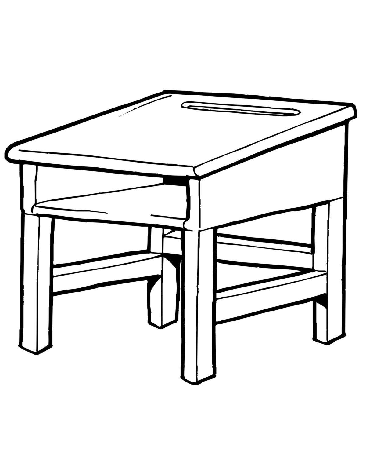 Парта - Картинка для раскрашивания красками-гуашью