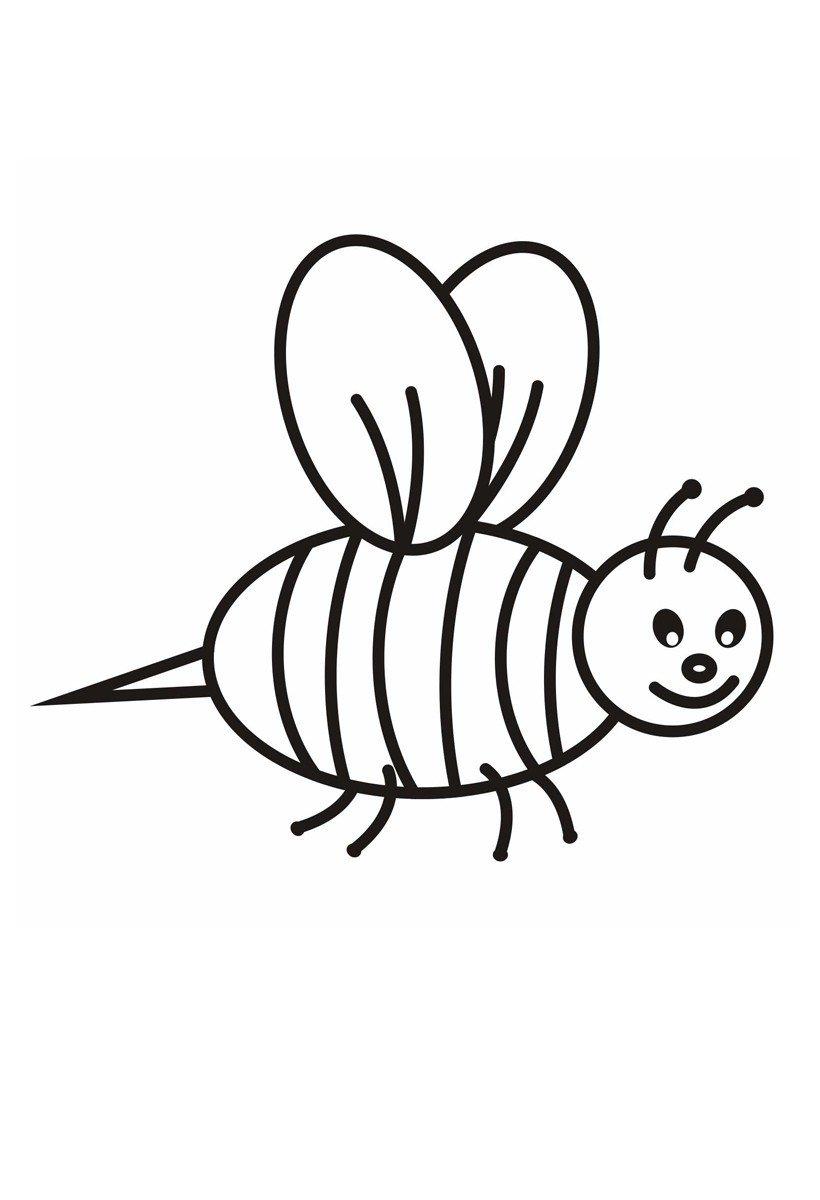 Пчелка - Картинка для раскрашивания красками-гуашью
