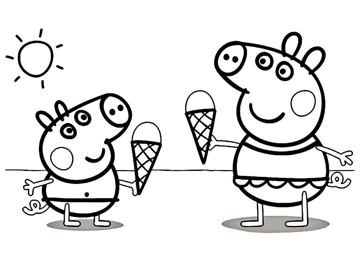 Картинка для раскраски «Пеппа и Джордж с мароженым»