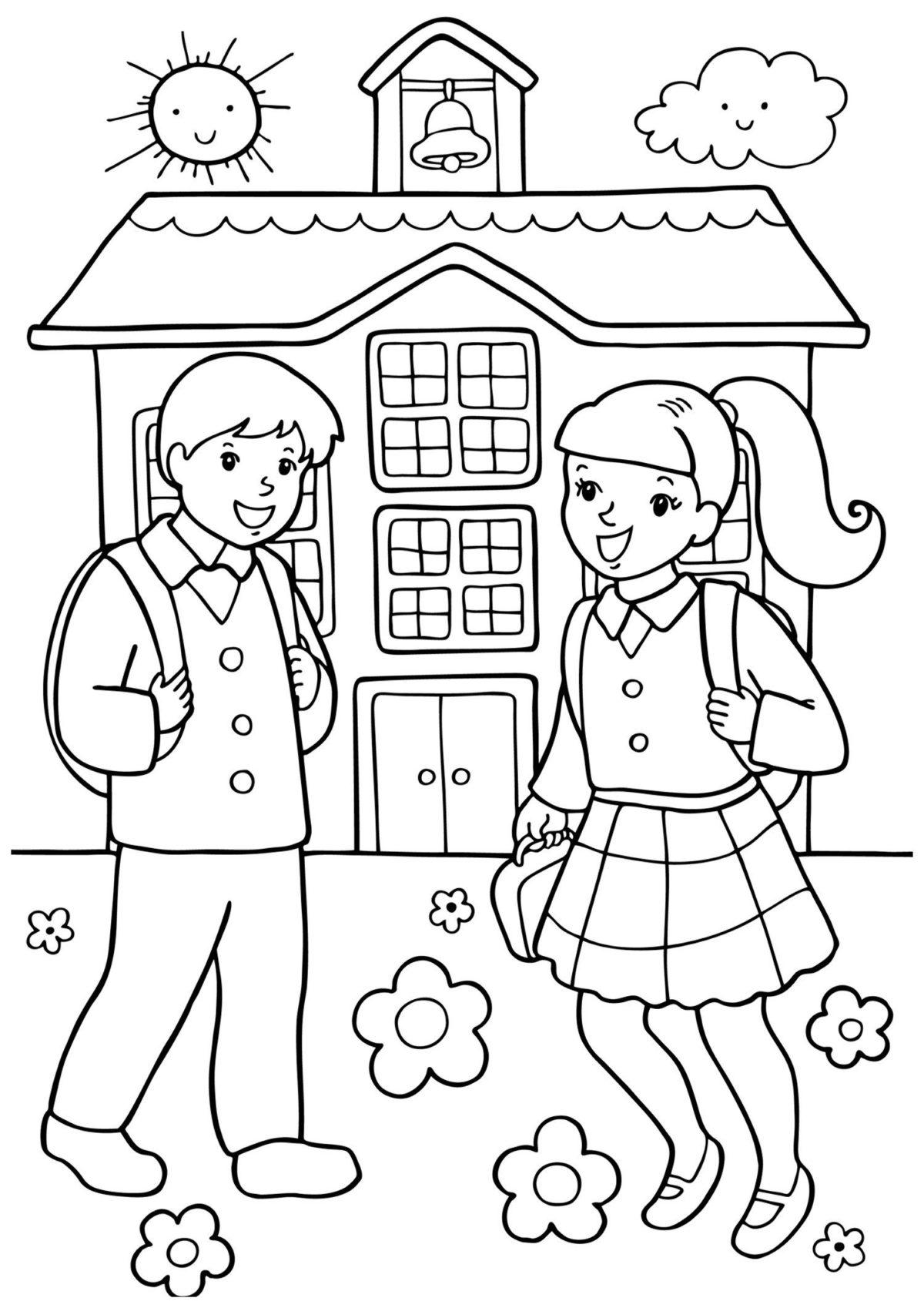 Первоклассники - Картинка для раскрашивания красками-гуашью