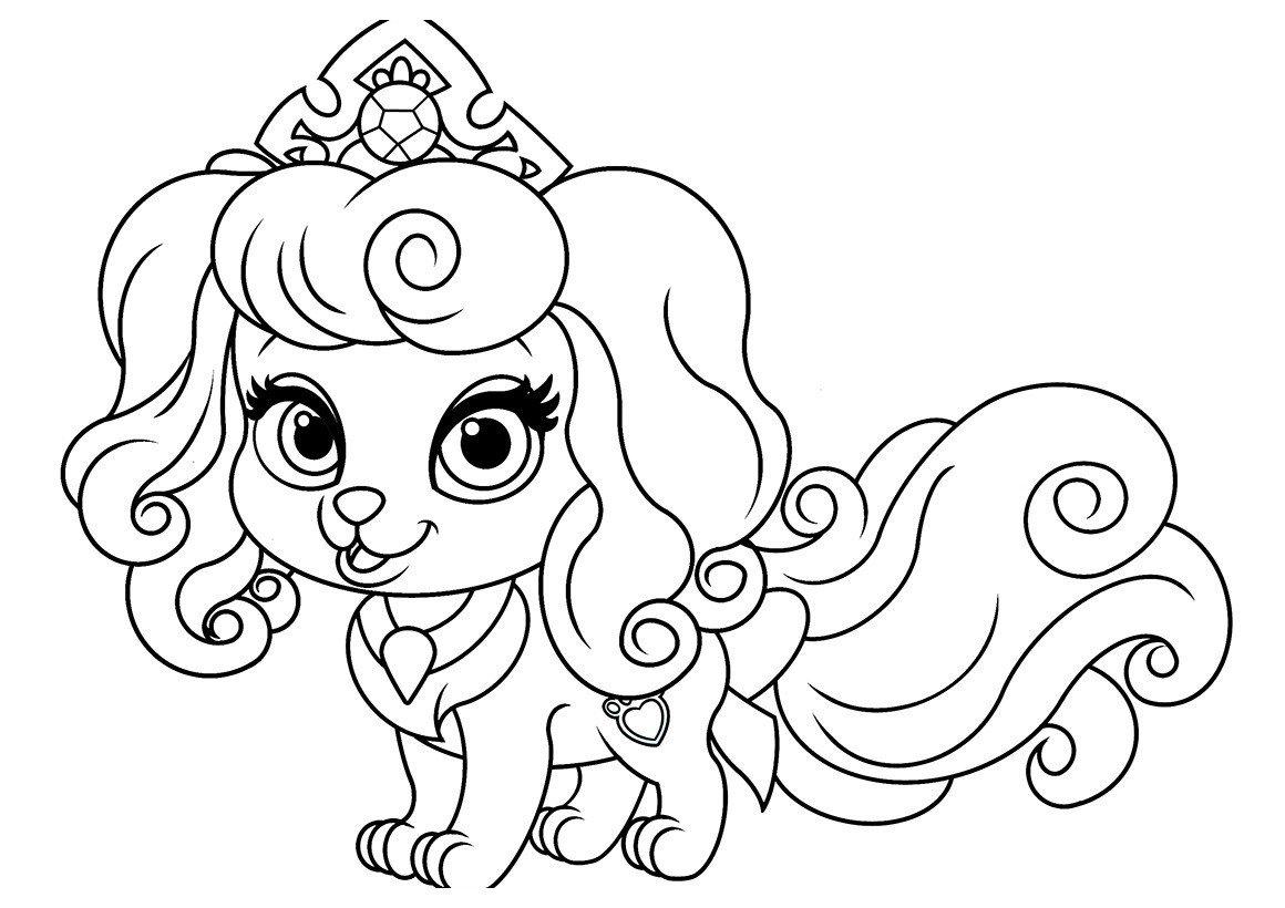 Питомец Авроры щенок Макарон - Картинка для раскрашивания красками-гуашью