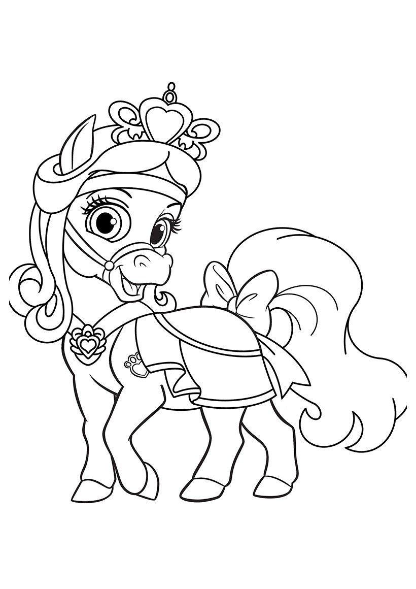 Питомец Белоснежки пони Красотка - Картинка для раскрашивания красками-гуашью